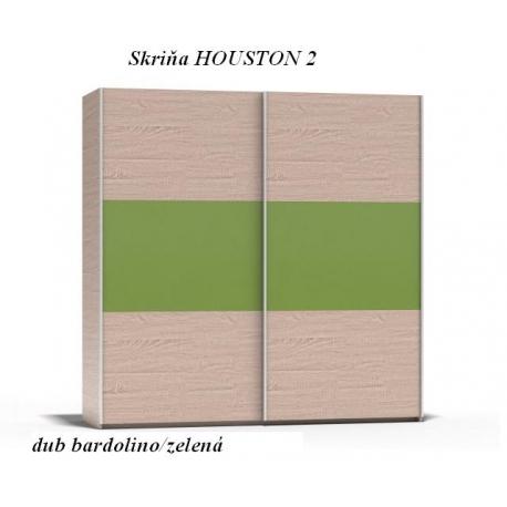 Skriňa HOUSTON 2,dub bardolino/zelená