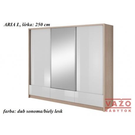 Skriňa ARIA I.,šírka: 250 cm,farba: dub sonoma/biely lesk