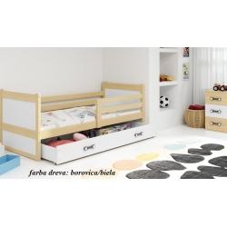 Detská posteľ RICO, farba dreva: borovica/biela